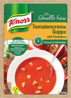 Knorr Die Schnelle Feine Tomatencreme-Suppe mit Croutons, 2 Teller
