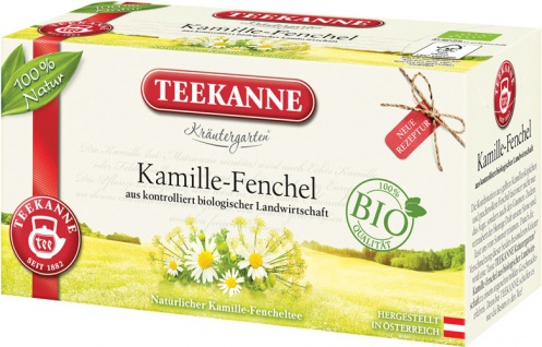 Teekanne Kräutergarten Bio Kamille-Fenchel, Teebeutel im Kuvert