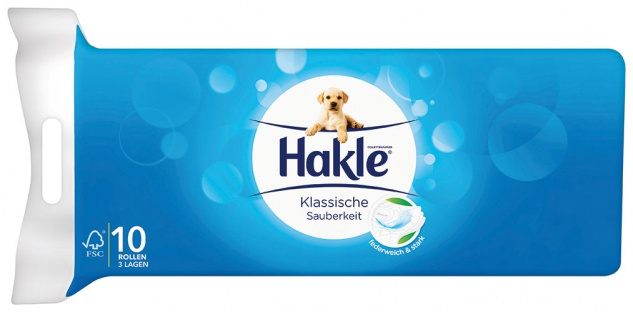 Hakle Klassische Sauberkeit, Toilettenpapier 3-lagig, weiß mit Prägung, federweich und stark, 10 x