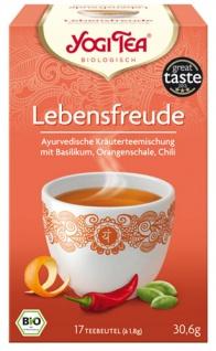 Yogi Tea Bio Lebensfreude, Kräuterteemischung mit Basilikum, Orangenschale & Chili, Teebeutel im Ku