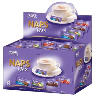 Milka Naps Mix 4 Sorten (Alpenmilch, Haselnuss, Erdbeer, Crème au Cacao), einzeln verpackt, ca. 355