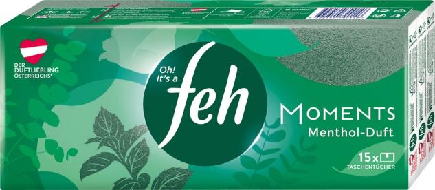Feh moments Menthol-Duft Taschentücher, 4-lagig, 15 x 9 Stück