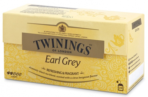 Twinings Earl Grey, Schwarztee, Teebeutel im Kuvert