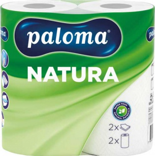 Paloma Küchenrolle Natura 2-lagig, naturweiß, 100% Recycling, 2 Rollen à 50 Blatt (22 x 22, 2 cm)