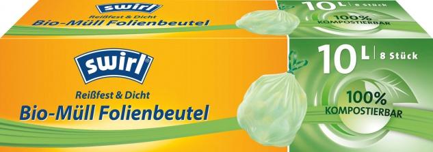 Swirl Bio Müllbeutel Reißfest & Dicht 10 Liter, mit Tragegriff, grün/teil-transparent, 100 % kompos