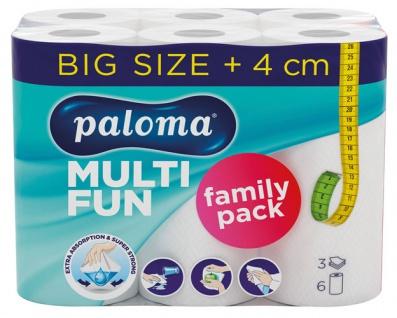Paloma Küchenrolle MULTI FUN 3-lagig, weiß, 6 Rollen à 51 Blatt (26 x 24 cm), 100 % Zellstoff