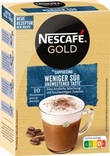 Nescafé Gold Cappuccino Weniger süss, Löskaffee-Sticks, 10 Portionen