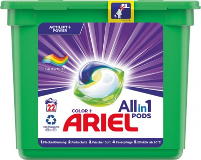 Ariel All-in-1 Pods Color+ Farbschutz Actilift Power, Colorwaschmittel-Tabs 22 WG