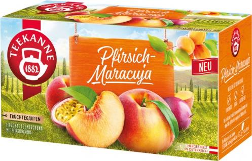 Teekanne Früchtegarten Pfirsich-Maracuja, Früchteteemischung, Teebeutel im Kuvert