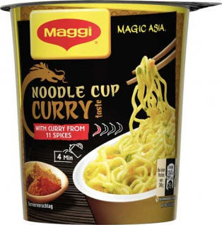 Maggi Magic Asia Noodle Cup Curry, Instant Nudel Snack, 1 Portion