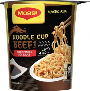 Maggi Magic Asia Noodle Cup Beef, Instant Nudel Snack, 1 Portion