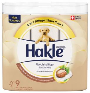 Hakle Reichhaltige Sauberkeit mit Shea-Butter, Toilettenpapier 4-lagig, weiß bedruckt mit Prägung,