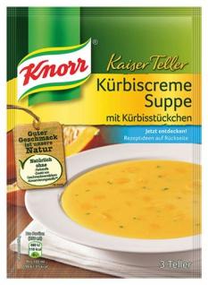 Knorr Kaiser Teller Kürbiscreme-Suppe mit Kürbisstücken, 3 Teller