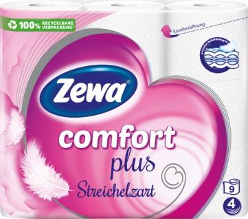 Zewa Comfort plus Streichelzart, Toilettenpapier 4-lagig, weiß mit Prägung, 9 x 120 Blatt