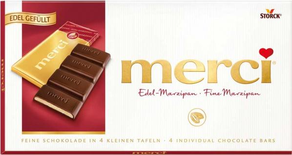 Merci Edel-Marzipan, 4 Mini-Tafelschokoladen