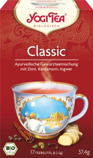 Yogi Tea Bio Classic, Gewürzteemischung mit Zimt, Kardamom und Ingwer, Teebeutel im Kuvert