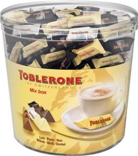 Toblerone Mix-Box 3 Sorten (Milch, Weiss, Dunkel), 113 Stück, einzeln verpackt