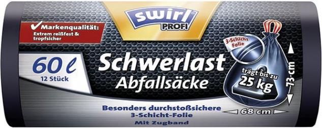 Swirl Profi Schwerlast-Abfallsäcke Reißfest & Dicht 60 Liter, mit Zugband, schwarz/blickdicht, träg