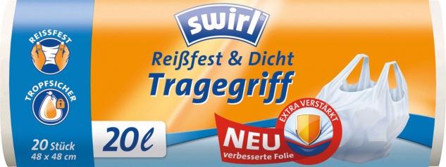 Swirl Müllbeutel Reißfest & Dicht 20 Liter, mit Tragegriff, weiss/teil-transparent, aus 80 % recyce