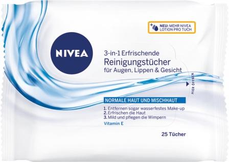 Nivea Reinigungstücher 3in1 erfrischend, für normale Haut und Mischhaut