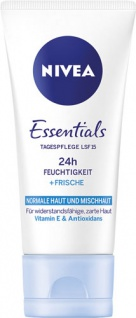 Nivea Essentials Tagespflege 24h Feuchtigkeit + Frische, LSF 15, für normale Haut und Mischhaut