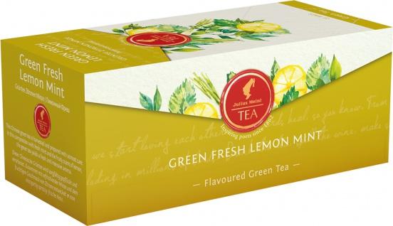 Julius Meinl Green Fresh Lemon Mint, Grüner Tee, Teebeutel im Kuvert, 2. Entnahmefach/displaytaugli