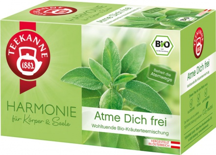 Teekanne Harmonie Bio Atme Dich frei, wohltuende Kräuterteemischung, Teebeutel im Kuvert
