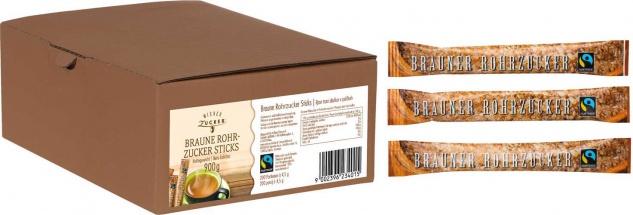 Wiener Zucker Fairtrade Brauner Rohrzucker Zuckersticks, 200 Sticks à 4, 5 g