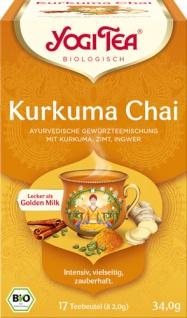Yogi Tea Bio Kurkuma Chai, Ayurvedische Gewürzteemischung mit Kurkuma, Zimt & Ingwer, Teebeutel im