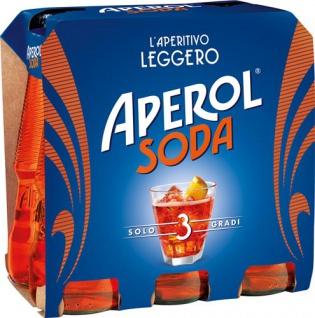 Aperol Soda, fix & fertig gemischt, 3 % Vol.Alk., 6 x 125 ml Flasche