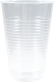 Trinkbecher 0, 2 Liter, Plastik transparent mit Rillenprägung