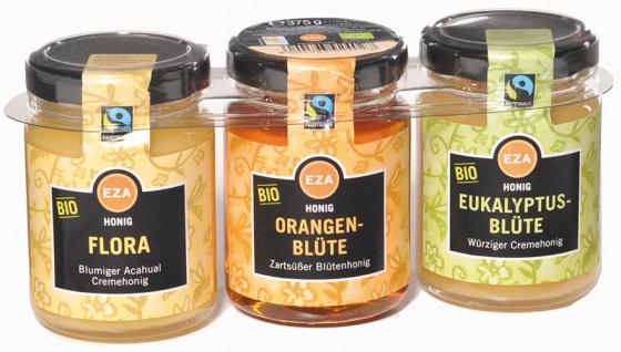 EZA Fairtrade Bio Honig-Trio PORTIONSGLÄSER (Flora Acahual-, Orangenblüten, Eukalyptus), 3 x 125 g