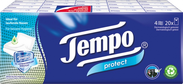 Tempo Protect Taschentücher, 4-lagig, 20 x 9 Stück, waschmaschinenfest