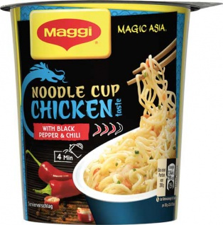 Maggi Magic Asia Noodle Cup Chicken, Instant Nudel Snack, 1 Portion