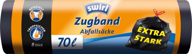 Swirl Abfallsäcke 70 Liter, mit Zugband, extra stark, schwarz/blickdicht, reissfest, tropfsicher