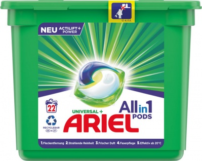 Ariel All-in-1 Pods Universal+ Actilift Power, Vollwaschmittel-Tabs 22 WG