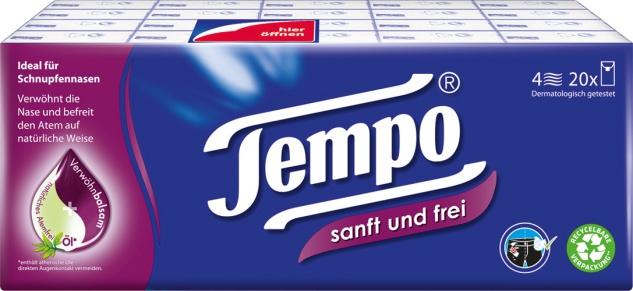 Tempo Sanft und Frei Taschentücher, 4-lagig, mit Verwöhnbalsam & Atemfrei Ölen, 20 x 9 Stück, wasch