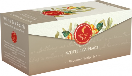 Julius Meinl Weißer Tee Pfirsich, Weißer Tee, Teebeutel im Kuvert, 2. Entnahmefach/displaytauglich