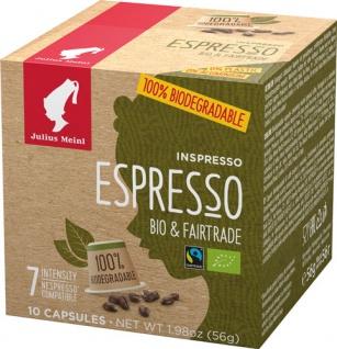 Julius Meinl Inspresso Fairtrade Bio Espresso 7, Nespresso-kompatibel, kompostierbar, 10 Kaffeekaps