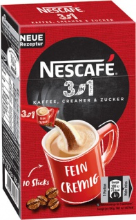 Nescafé 3in1, Löskaffee-Sticks mit Creamer & Zucker, 10 Portionen