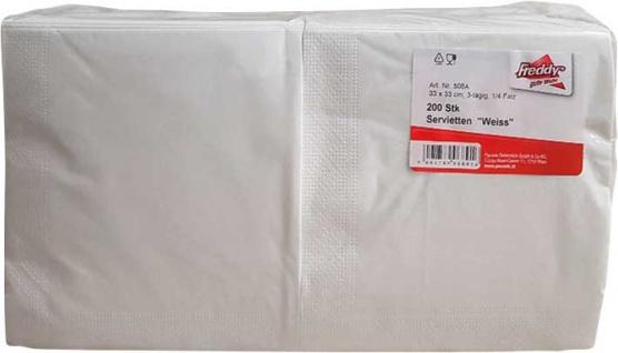 Servietten WEISS, 3-lagig, 33 x 33 cm, 1/4 Folding