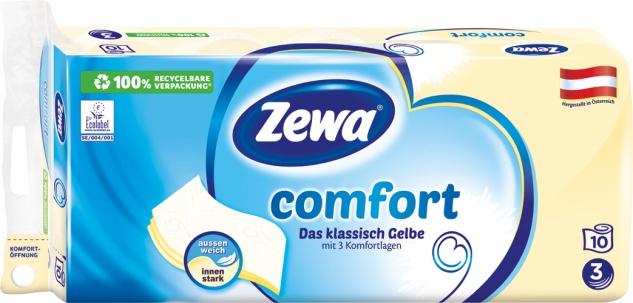 Zewa Comfort Das klassisch Gelbe, Toilettenpapier 3-lagig, gelb bedruckt mit Prägung, 10 x 150 Blat