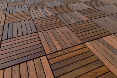 1 Fliese Thermoesche Terrassen Natur Holz Platten Stecksystem 33x33cm THF-1