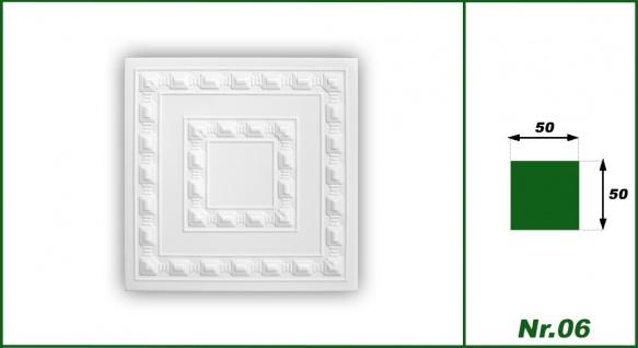 1 qm Deckenplatten Polystyrolplatten Stuck Decke Dekor Platten 50x50cm, Nr.06 - Vorschau 2