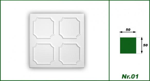1 qm Deckenplatten Styroporplatten Stuck Decke Dekor Platten 50x50cm Nr.01 - Vorschau 2