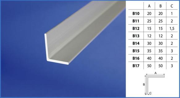 2 Meter Winkelprofil gleichschenklig Rostfrei Alu Eloxiert Effector B10-B17 - Vorschau 2