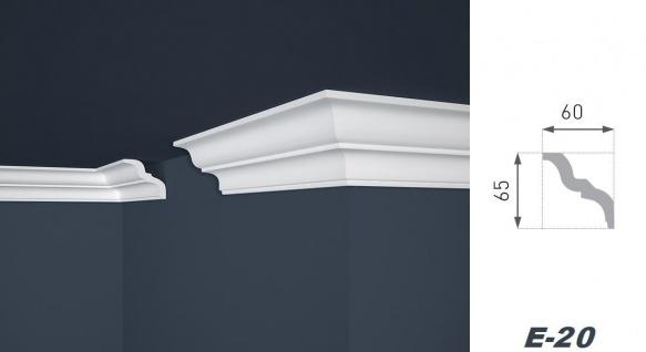 2 Meter Stuckleiste XPS Zierprofil Eckleiste stabil weiß Marbet 65x60mm E-20 - Vorschau 2