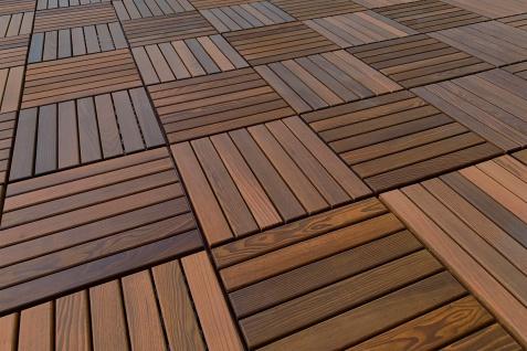 Balkon,- Terrassen Fliesen aus Natur Holz mit Stecksystem, Thermo Esche, innen und außen