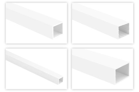 Vierkantrohr Profile PVC weiß 2m - Quadrat- & Rechteckrohre, Kabelkanal - HJ