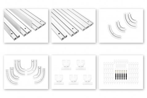 Gardinenschienen | 1-3 läufig, Kunststoff PVC weiß, Auswahl Zubehör | OM